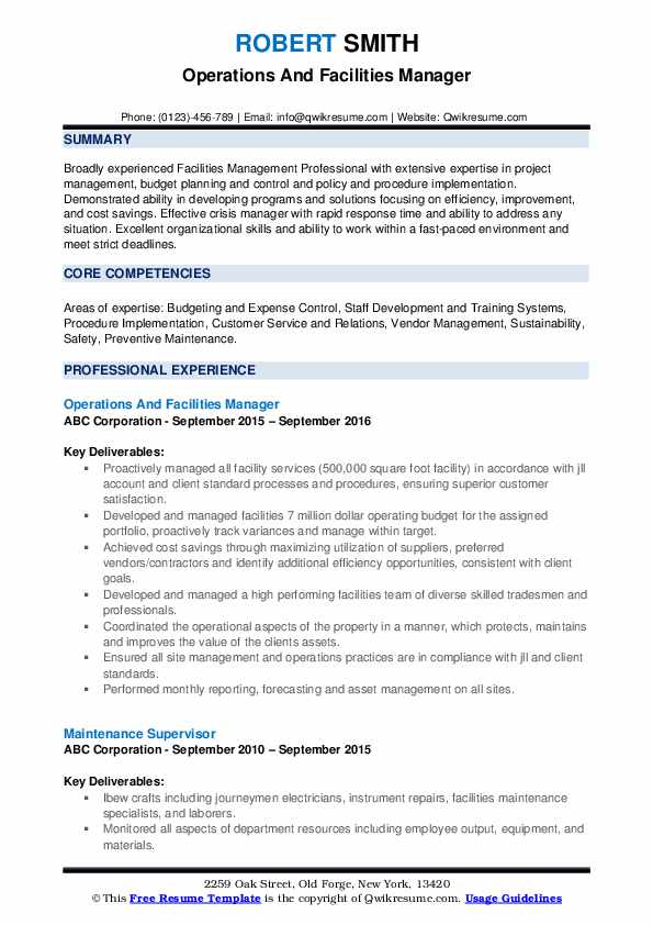 facilities manager resume samples qwikresume facility operations sample pdf human Resume Facility Operations Manager Resume Sample