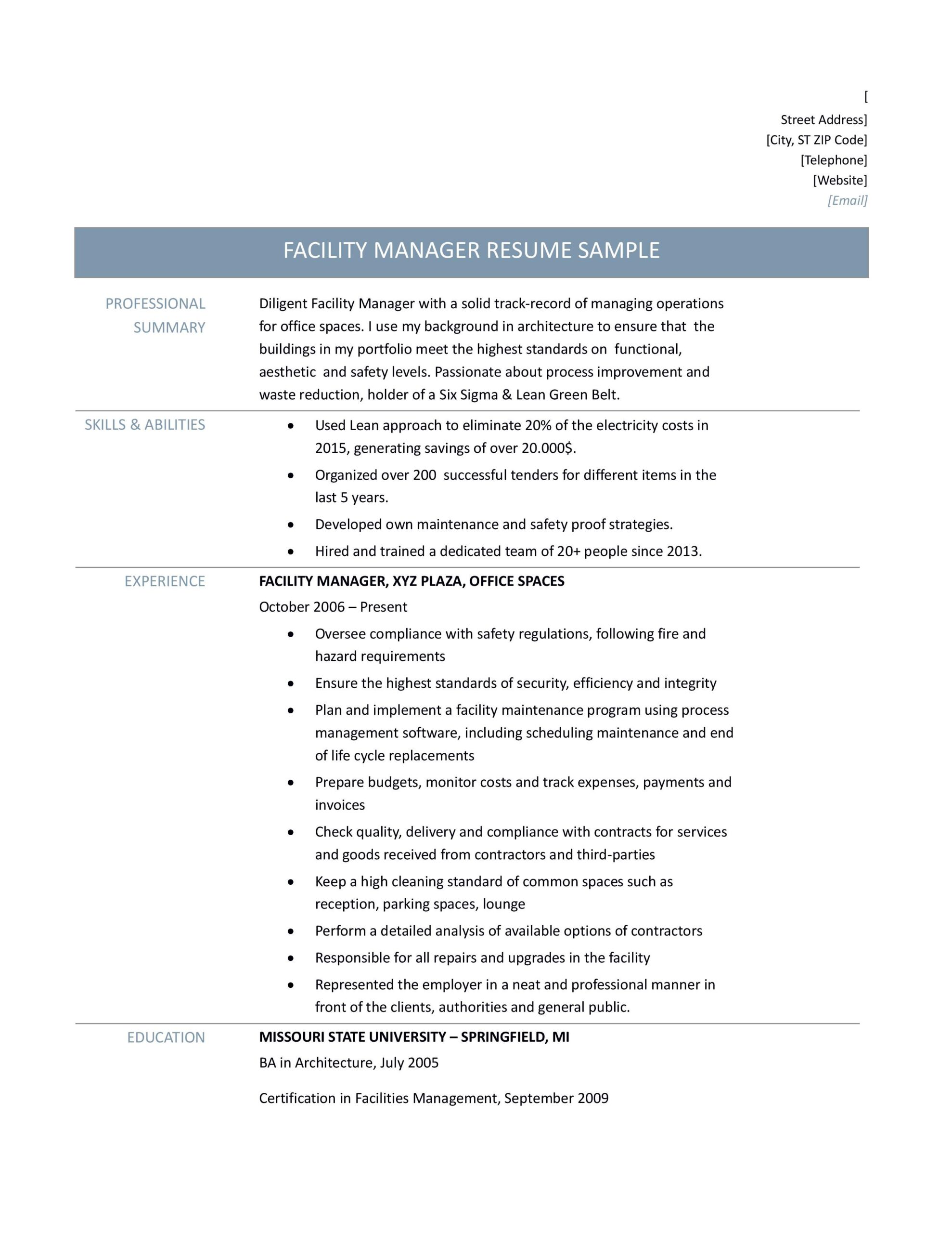 facilities manager resume samples tips and templates by builders medium facility Resume Facility Operations Manager Resume Sample