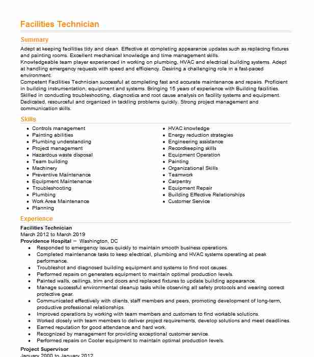 facilities technician resume example resumes livecareer facility maintenance another word Resume Facility Maintenance Resume