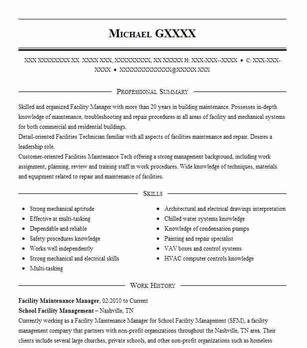 facility maintenance manager resume example livecareer another word for manage on entry Resume Facility Maintenance Resume