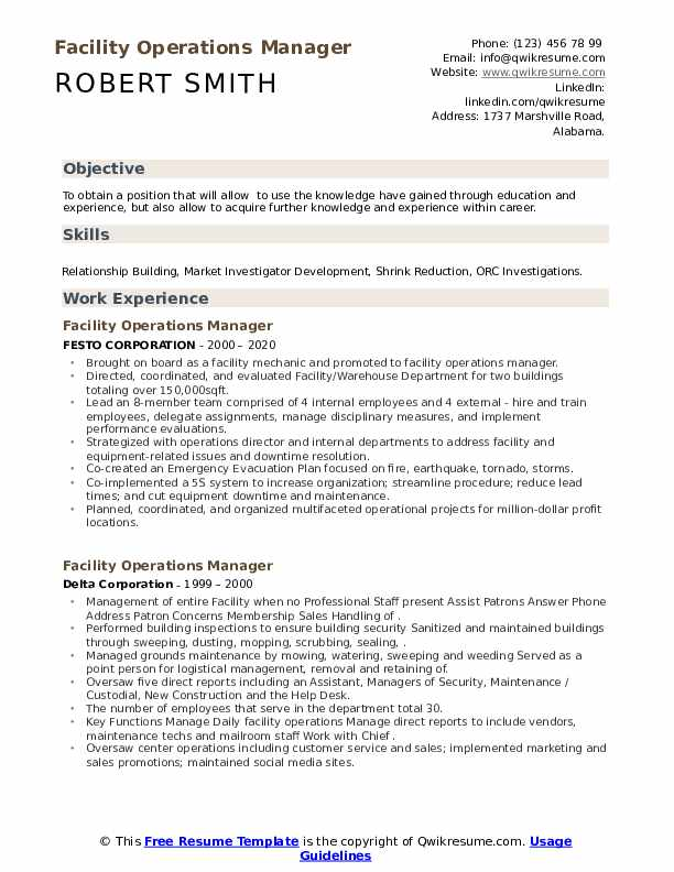 facility operations manager resume samples qwikresume sample pdf appen example human Resume Facility Operations Manager Resume Sample