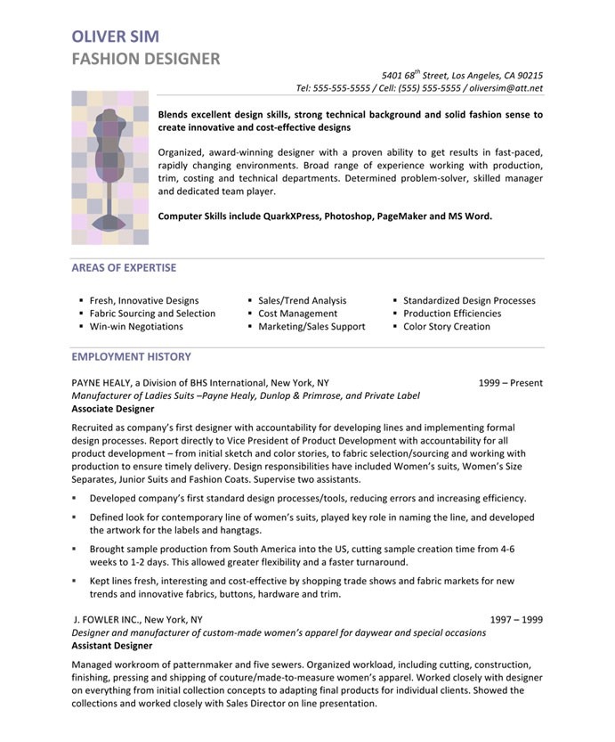 fashion designer free resume samples blue sky resumes creative for 45after polyeucte Resume Creative Resume For Fashion Designer