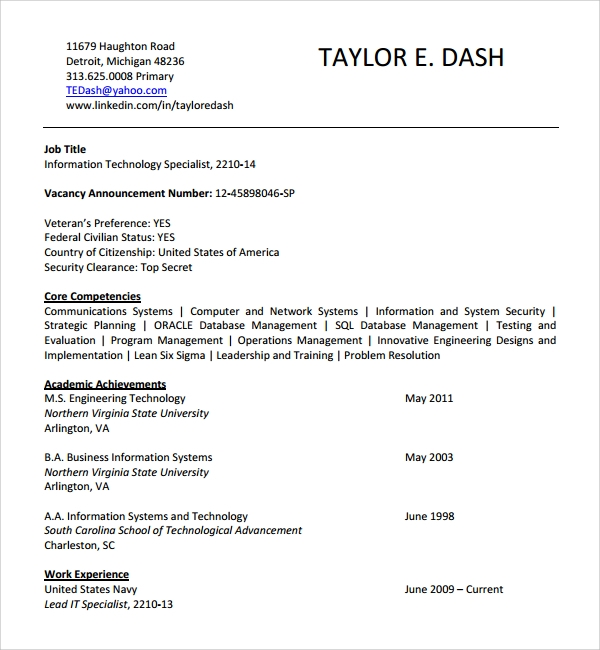fbi core competencies resume federal examples of on information technology cv template Resume Examples Of Core Competencies On Resume