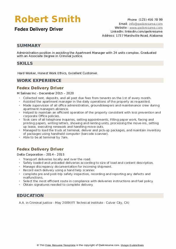 fedex delivery driver resume samples qwikresume example pdf learning and development Resume Fedex Driver Resume Example