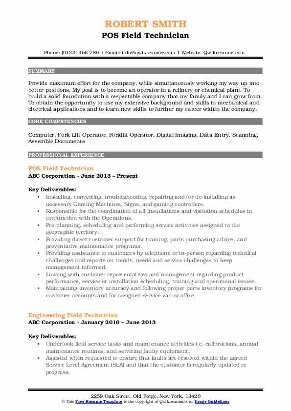 field technician resume samples qwikresume pos sample pdf objective for manufacturing Resume Pos Technician Resume Sample