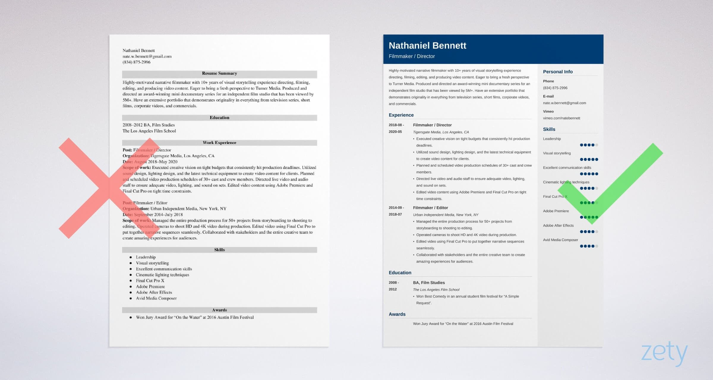 filmmaker resume examples and guide for filmmaking cv example zety us experienced Resume Filmmaker Resume Examples
