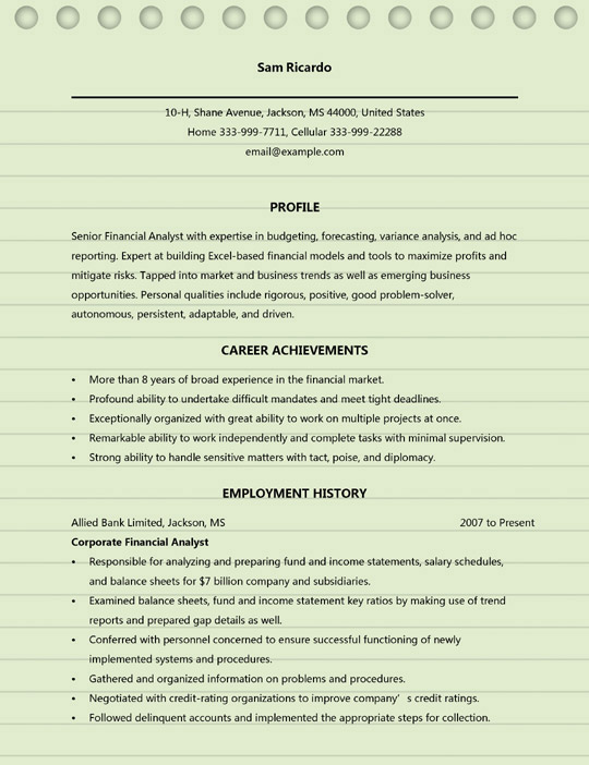 financial analyst resume examples ms word format sample international business student Resume Financial Analyst Resume Examples