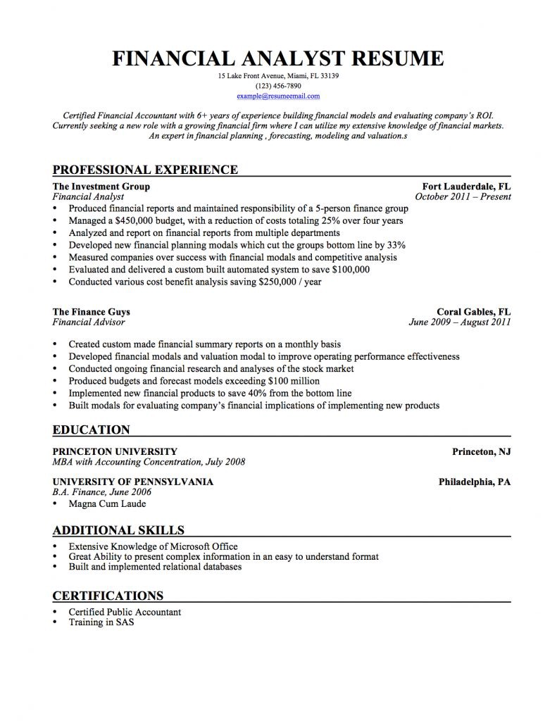 financial analyst resume samples templates tips by builders medium examples Resume Financial Analyst Resume Examples