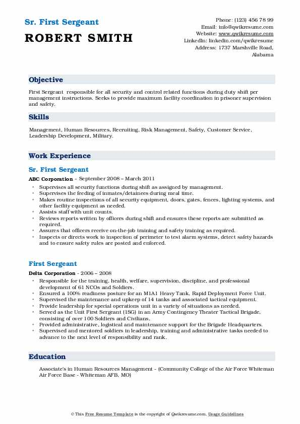 first sergeant resume samples qwikresume army pdf google docs examples safety Resume Army First Sergeant Resume