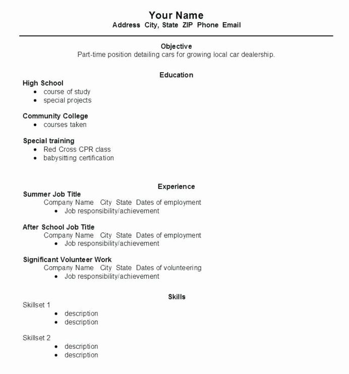 first time resume template awesome work for high school student wikirian in job samples Resume First Time Student Resume