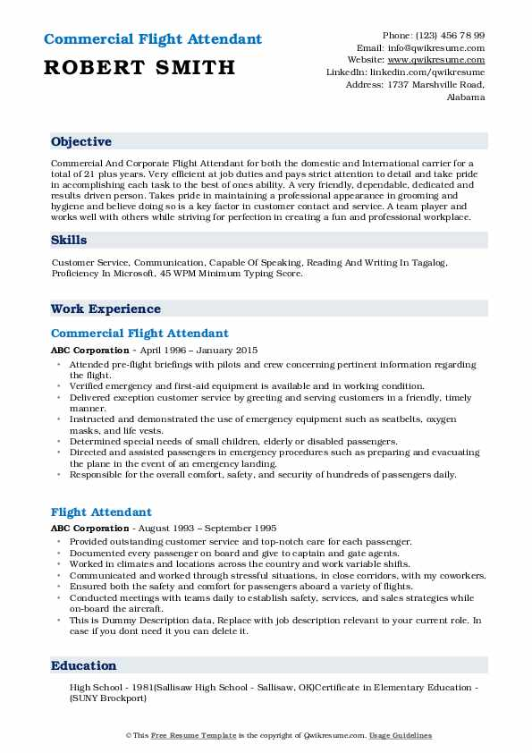 flight attendant resume samples qwikresume career objective examples for pdf pmo director Resume Career Objective Examples For Resume Flight Attendant