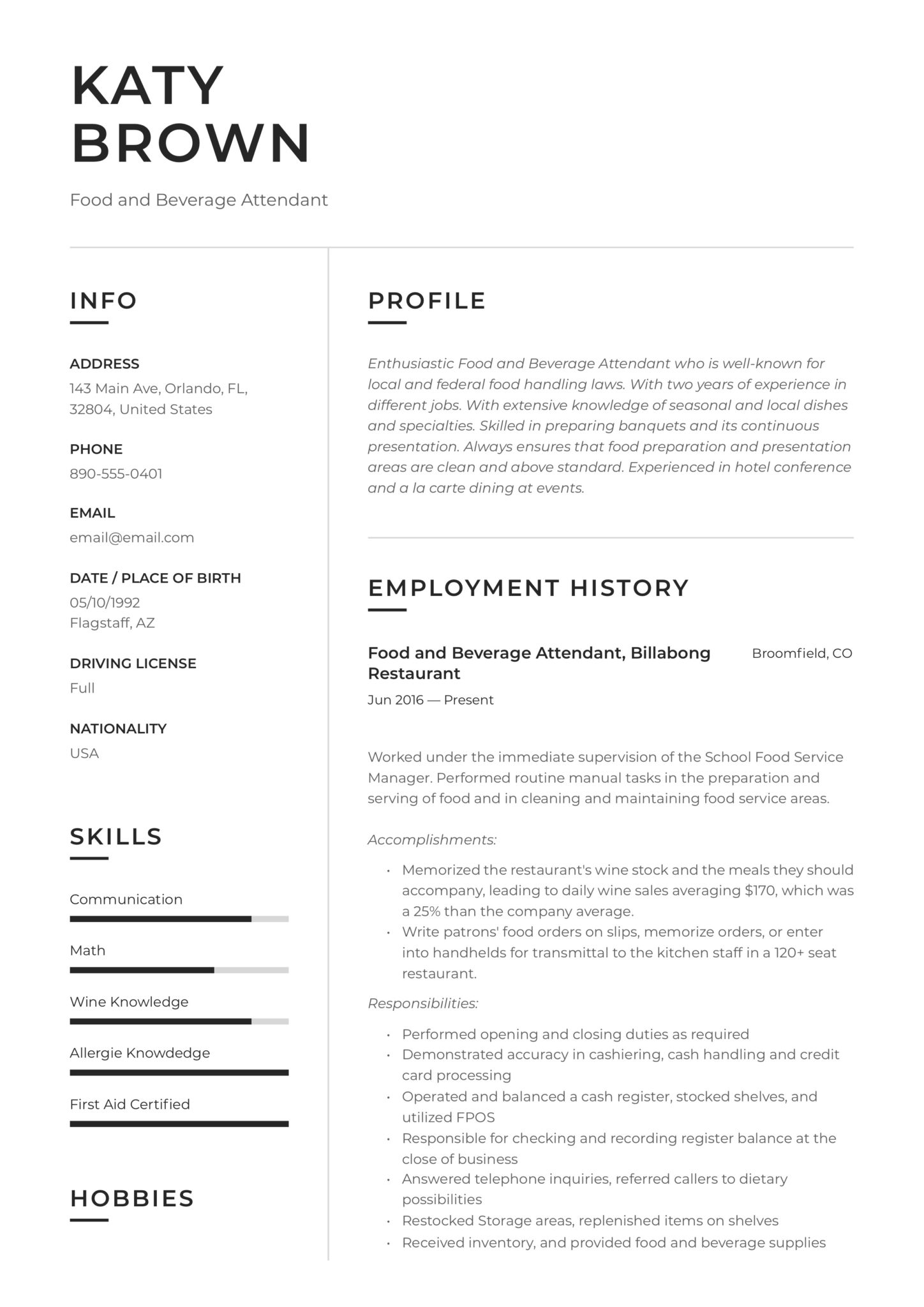 food and beverage attendant resume examples word pdf hospitality scaled housekeeping Resume Hospitality Resume Examples