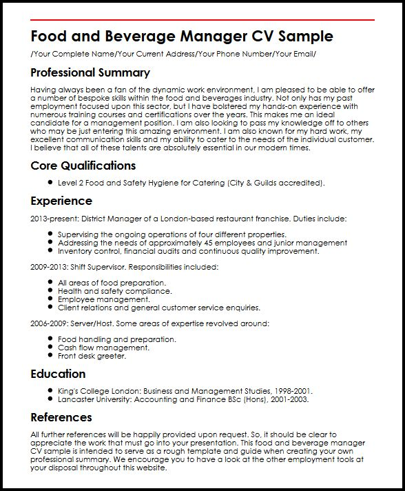 food and beverage manager cv example myperfectcv resume sample functional microsoft data Resume Food & Beverage Manager Resume