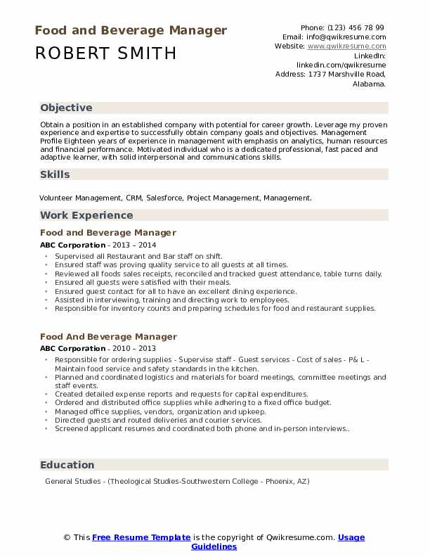 food and beverage manager resume samples qwikresume pdf general contractor objective Resume Food & Beverage Manager Resume