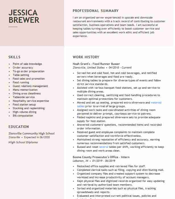 food runner expo busser resume example daiquari deck description for quality analyst Resume Food Runner Description For Resume