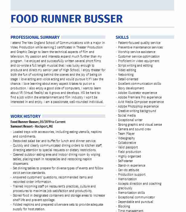 food runner expo busser resume example daiquari deck description for scheduling Resume Food Runner Description For Resume