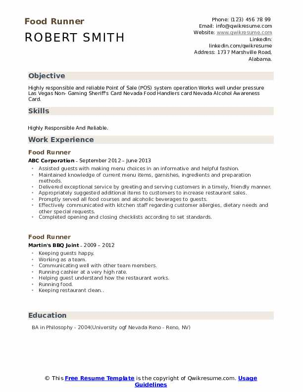 food runner resume samples qwikresume description for pdf experience format web developer Resume Food Runner Description For Resume