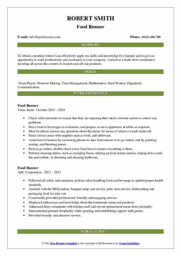 food runner resume samples qwikresume description for pdf quality analyst experience Resume Food Runner Description For Resume
