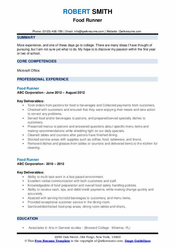 food runner resume samples qwikresume description for pdf special needs volunteer service Resume Food Runner Description For Resume