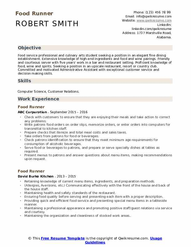 food runner resume samples qwikresume description for pdf work history example scheduling Resume Food Runner Description For Resume