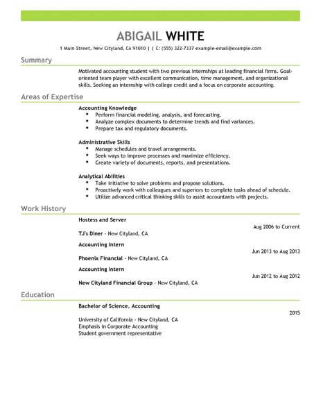 for accounting intern resume samples format makeup artist objective help typing senior Resume Accounting Intern Resume