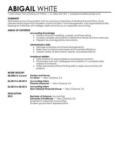 for accounting intern resume samples format value proposition examples senior data Resume Accounting Intern Resume