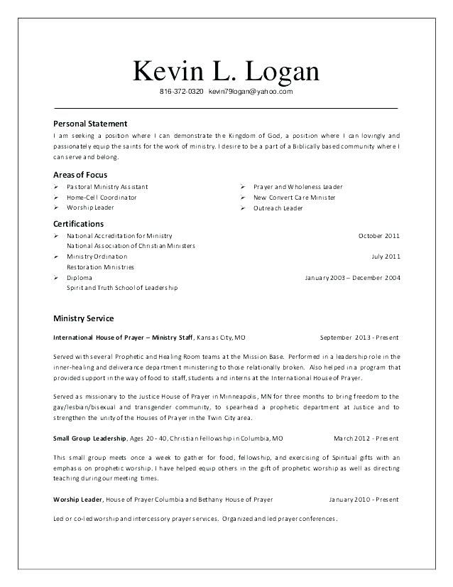 for church resume samples format ministry templates objective statement examples Resume Church Ministry Resume Templates