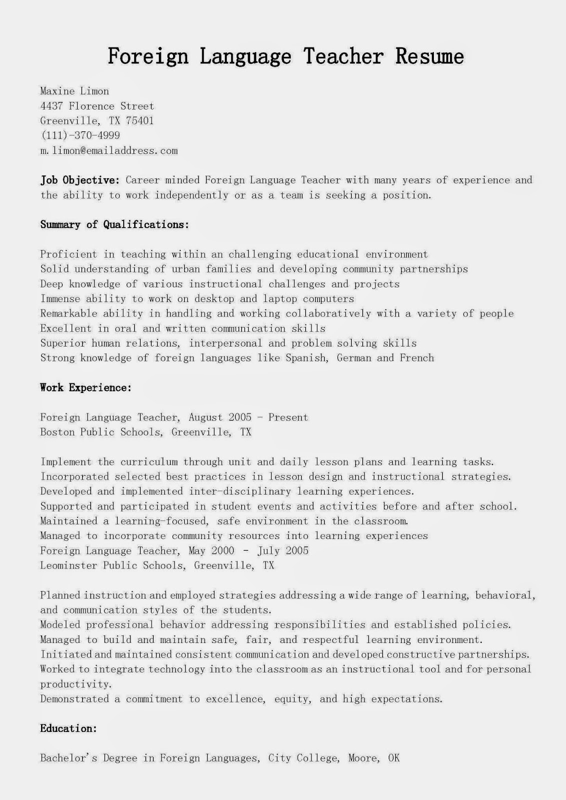 foreign english instructor resume december language proficiency teacher community Resume Language Proficiency Resume