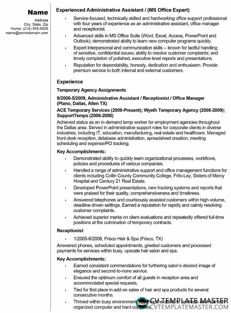 free admin assistant cv résumé example template master office administrator resume Resume Office Administrator Resume Free Sample