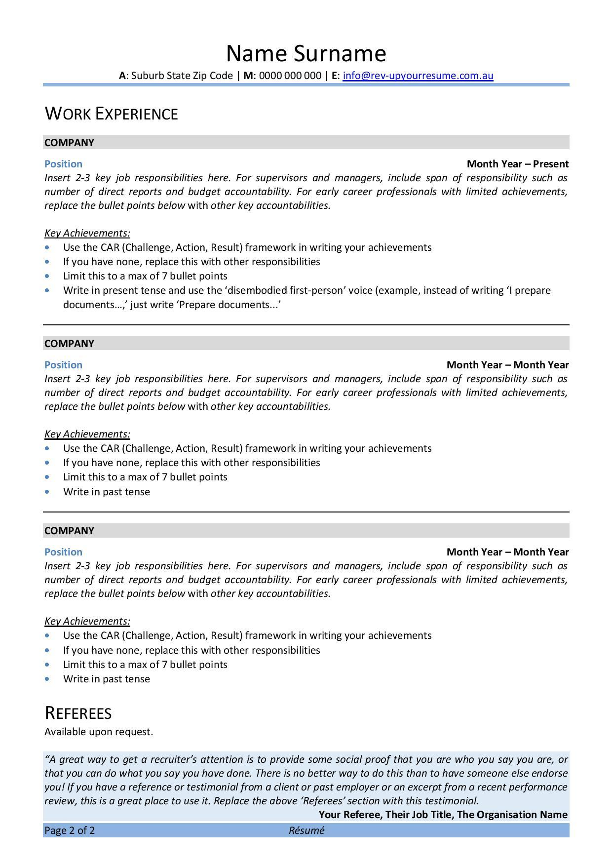free australian resume template rev up your melbourne covid behavioral health technician Resume Melbourne Resume Template