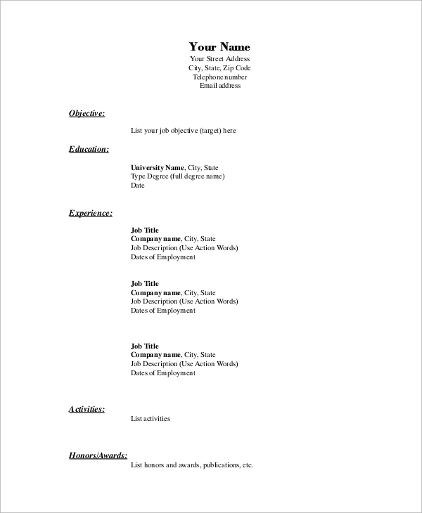 free basic resume samples in ms word pdf employment sample template example for someone Resume Employment Resume Sample