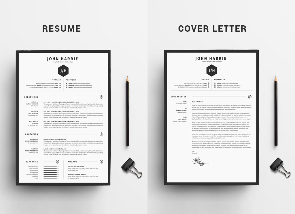 free clean resume cv cover letter template in word good and templates fre auto body Resume Free Resume And Cover Letter Templates