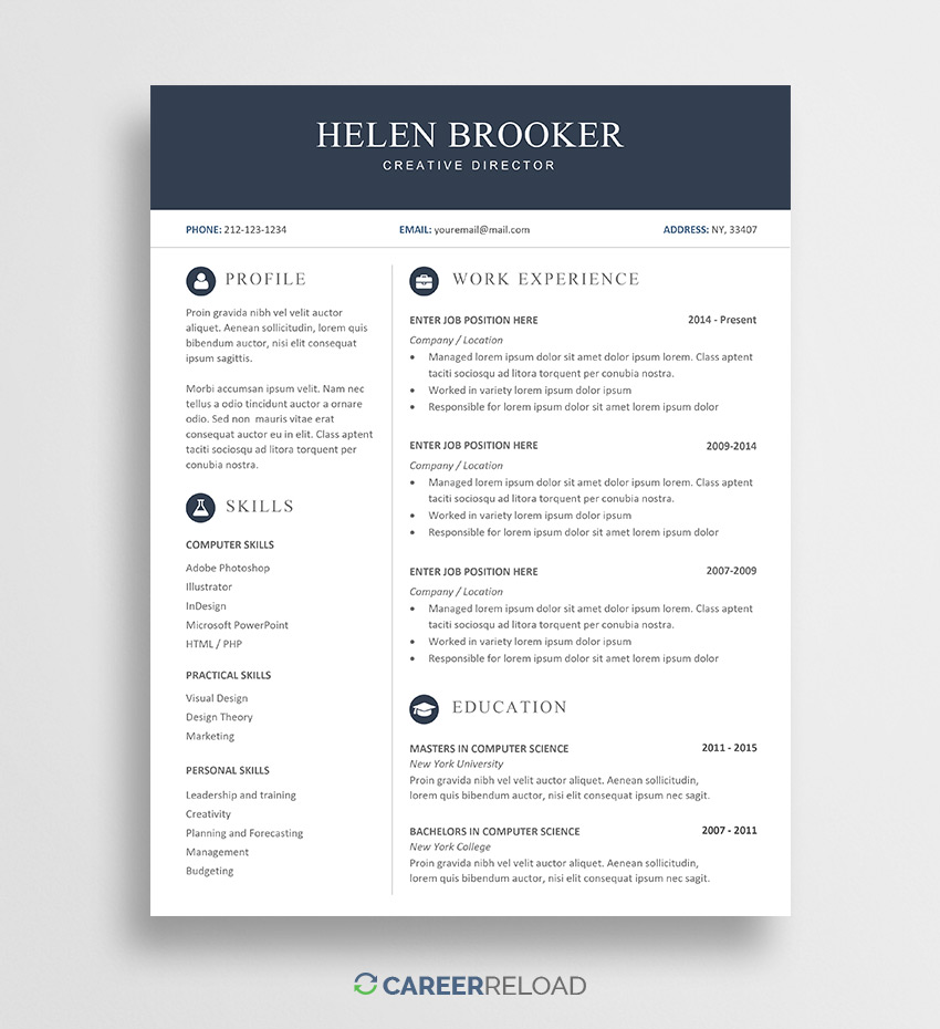free cv template for word career reload resume with helen cosmetic account executive Resume Resume Template With Picture Free Download