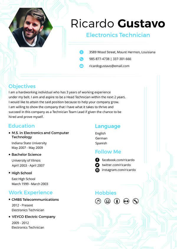 free designer resume cv template word indesign electronic technician financial services Resume Electronic Technician Resume Template