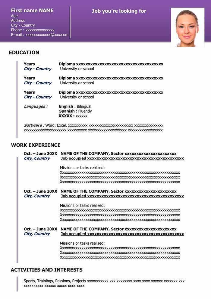 free downloadable resume template in word cv professional layout organized purple for Resume Professional Resume Layout 2020