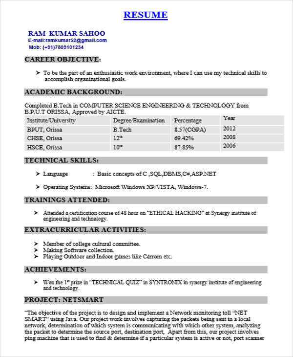 free fresher resume examples in ms word computer science engineer speech therapist human Resume Resume Computer Science Fresher