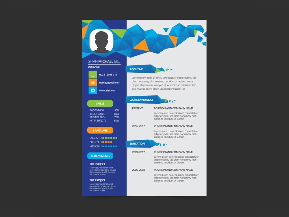 free geometric cv resume template with flat style design in illustrato creativebooster Resume Resume Design Illustrator