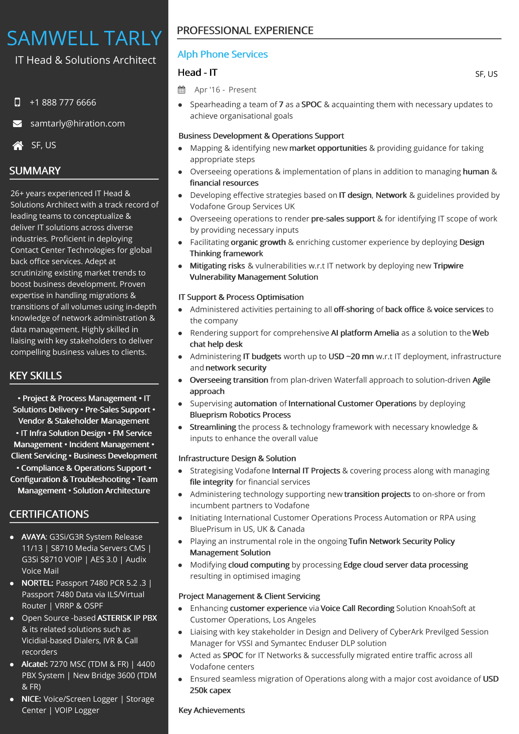 free it head solutions architect resume sample by hiration for voice process format Resume Resume For Voice Process
