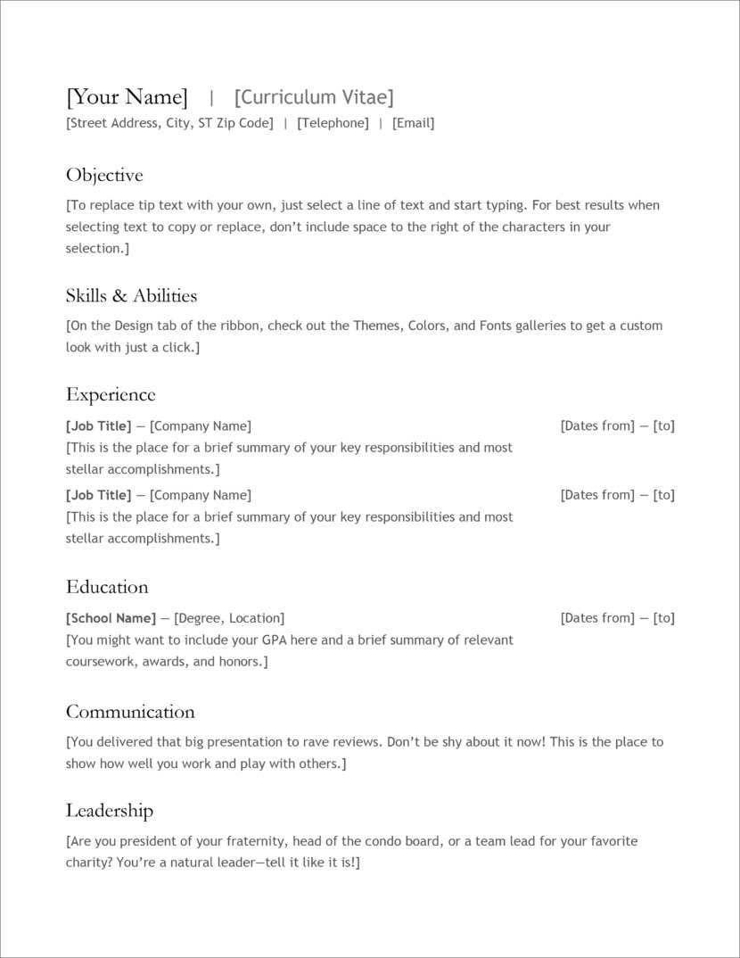 free modern resume cv templates minimalist simple clean design best format for Resume Best Resume Format For Experienced Free Download
