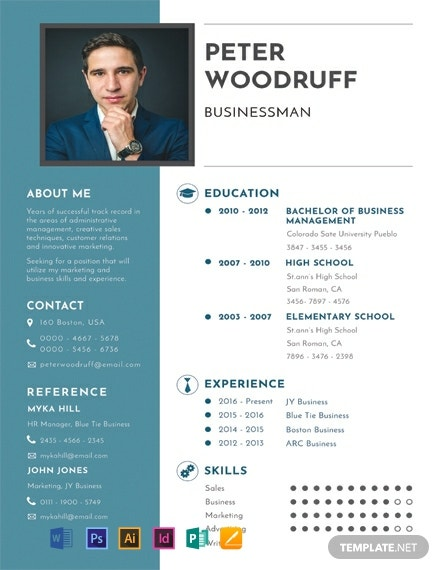 free one resume templates word indesign apple publisher illustrator template net business Resume One Page Resume Template