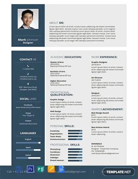 free resume cv templates word indesign apple publisher illustrator template net with Resume Resume Template With Picture Free Download
