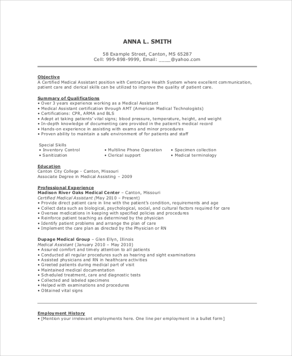 free resume objective samples in pdf ms word communication examples medical assistant Resume Communication Resume Objective Examples