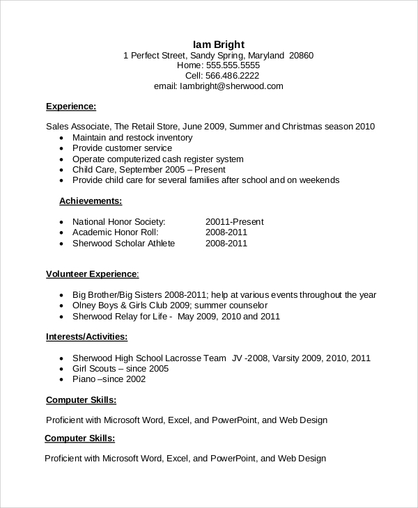free resume samples for job in ms word pdf examples after first high school student Resume Resume Examples After First Job