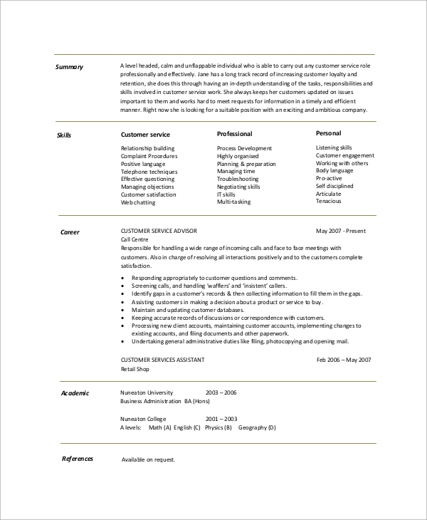 free resume summary templates in pdf ms word good customer service for example cookies Resume Good Customer Service Summary For Resume