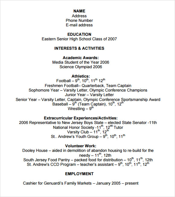 free sample college resume templates in ms word pdf high school graduate for application Resume High School Graduate Resume For College