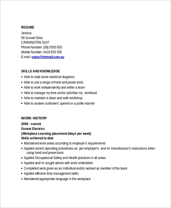 free sample electrician resume templates in pdf ms word apprentice for aircraft Resume Electrician Apprentice Resume