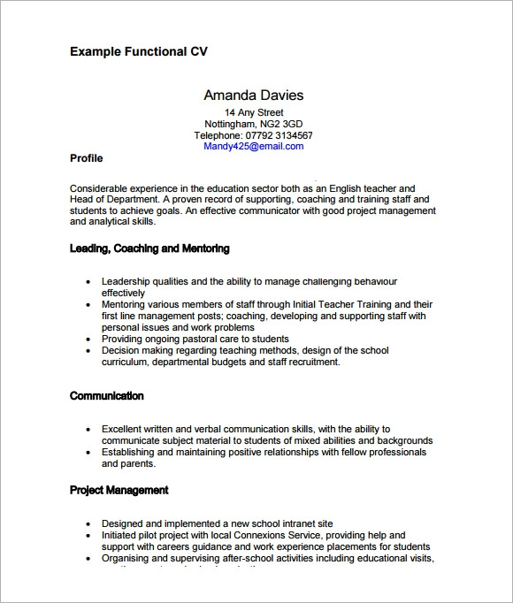 free sample functional cv templates in pdf ms word resume example template printable army Resume A Functional Resume Example