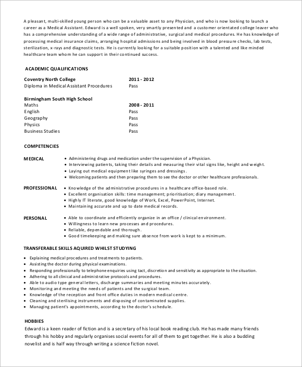 free sample medical assistant resume templates in pdf ms word entry level healthcare Resume Entry Level Healthcare Resume