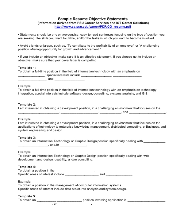 free sample objective statement for resume templates in pdf software general statement1 Resume Software Resume Objective