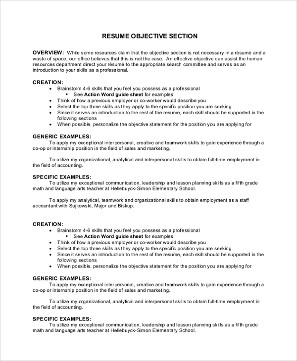 free sample objectives in pdf ms word resume introduction examples objective section Resume Resume Introduction Examples